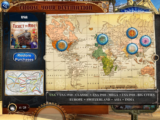 Ticket to ride days of wonder leaderboards india map map selection screen in game video gumiabroncs Image collections